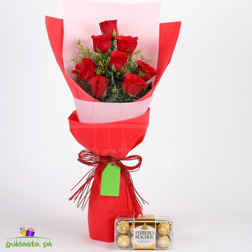 8 Red Roses With Ferrero Rocher Combo