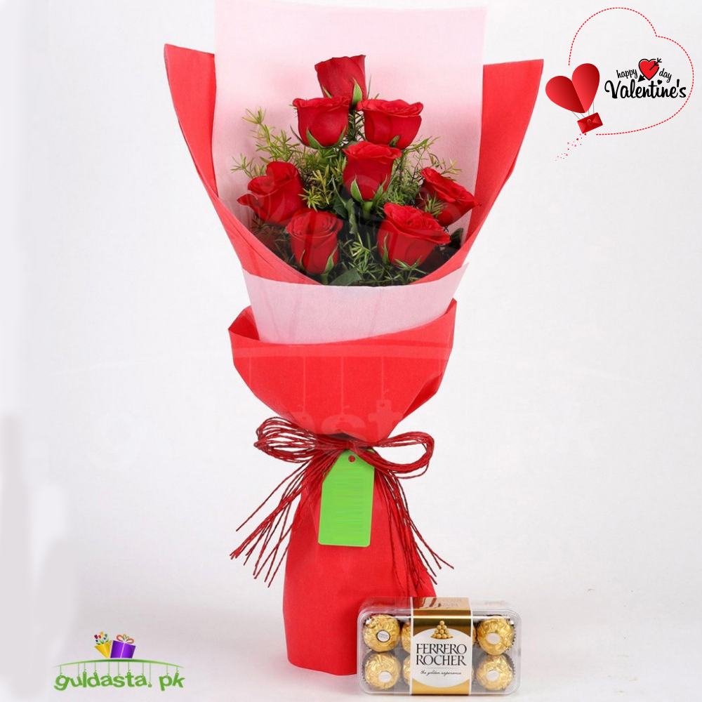 Valentine's Day Red Roses With Ferrero Rocher Combo